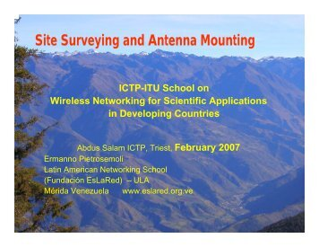 Site survey and antenna mounting - Wireless@ICTP
