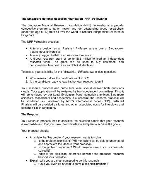01 NRF Fellowship Proposal Template 2013 - National Research