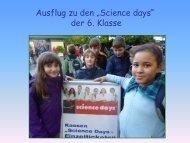 """Ausflug zu den """"Science days"""" der 6. Klasse - Paula Fürst Schule"""