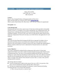 ENT 412 Entrepreneurial Finance and Venture Capital Investment