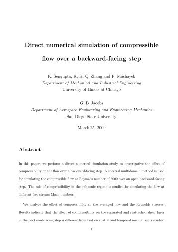 Direct numerical simulation of compressible flow over a ... - Sdsu