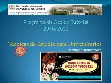 Técnicas de Estudio para Universitarios - Universidad de Alicante