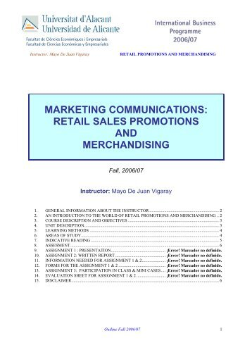 marketing communications: retail sales promotions and merchandising