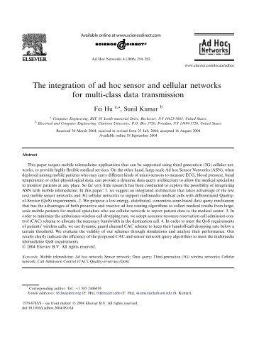 The integration of ad hoc sensor and cellular networks for multi ...