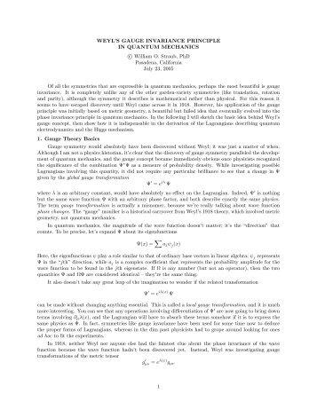 Weyl/Higgs - weylmann.com - Hermann Weyl