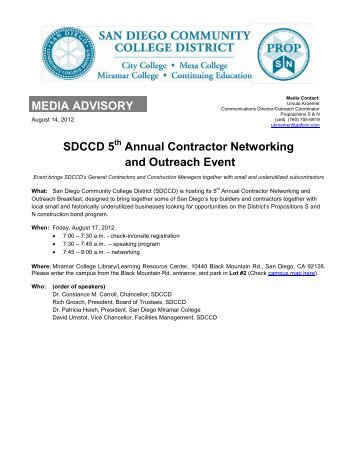 5thAnnual SDCCD Contractors Networking and Outreach Event ...
