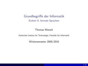 formale Sprachen - Grundbegriffe der Informatik (Wintersemester ...