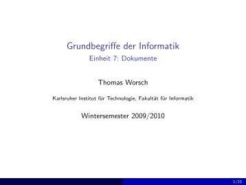 Dokumente - Grundbegriffe der Informatik (Wintersemester 2009/2010)