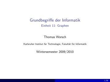 Graphen - Grundbegriffe der Informatik (Wintersemester 2009/2010)