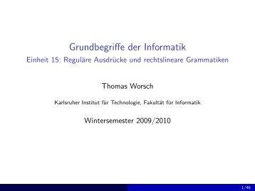 Reguläre Ausdrücke und rechtslineare Grammatiken - Grundbegriffe ...