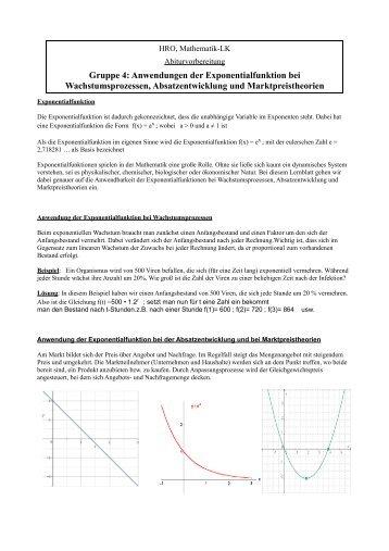 Atemberaubend Anwendungen Von Exponentialfunktionen Arbeitsblatt ...