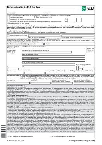 Antrag VisaCard - PSD Bank Rhein-Ruhr eG