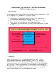 Transmission und Reflexion von elektromagnetischen Wellen an ...