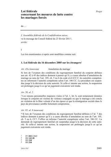 Loi fédérale concernant les mesures de lutte contre les ... - admin.ch