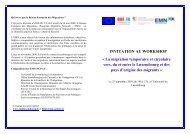 INVITATION AU WORKSHOP Â« La migration temporaire et circulaire ...