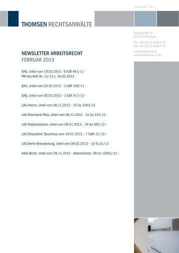 Newsletter arbeitsrecht FebrUar 2013 - Thomsen Rechtsanwälte