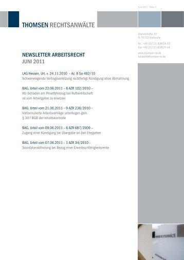 Newsletter arbeitsrecht JUNi 2011 - Thomsen Rechtsanwälte