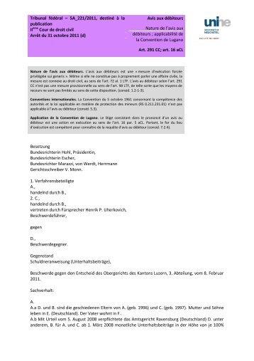 Tribunal fédéral – 5A_221/2011, destiné à la publication Avis aux ...