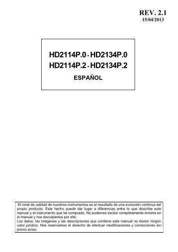 HD2114P.0- HD2134P.0 HD2114P.2- HD2134P.2 - Delta Ohm S.r.l.
