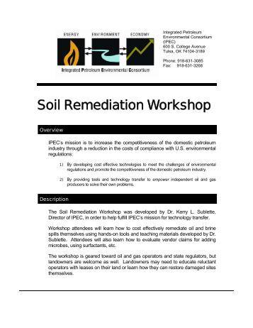 Soil Remediation Workshop - IPEC - University of Tulsa