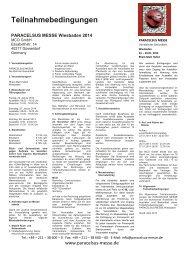 Teilnahmebedingungen - Paracelsus Messe
