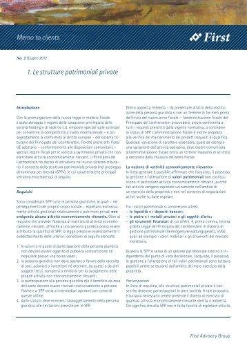 No. 2 Giugno 2012 - First Advisory Group