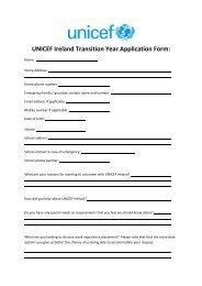 UNICEF Ireland Transition Year Application Form: