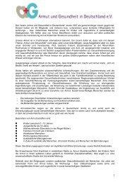 Entwicklung des Vereins und der Arbeitsfelder - Armut und ...