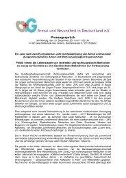 Pressegespräch - Armut und Gesundheit in Deutschland e.V.