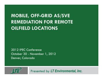 mobile, off-grid as/sve remediation for remote oilfield locations - IPEC