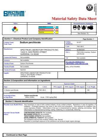 MSDS - Spectrum Chemical