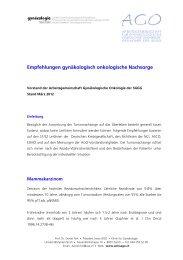 Empfehlungen gynäkologisch onkologische Nachsorge