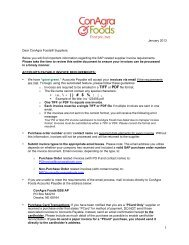 SAP Implementation Status — Supplier Letter - ConAgra Foods