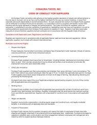 Supplier Code of Conduct - ConAgra Foods
