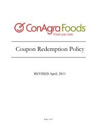 Coupon Redemption Policy - ConAgra Foods