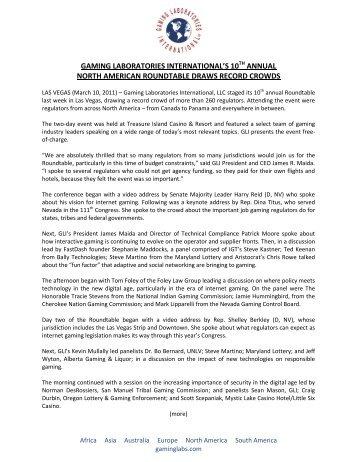 Gaming Laboratories International's 10th Annual North American ...