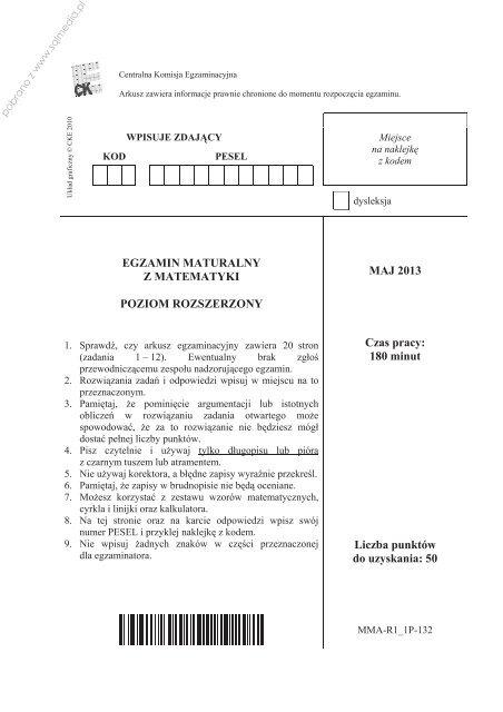 EGZAMIN MATURALNY Z MATEMATYKI POZIOM ... - Sqlmedia.pl