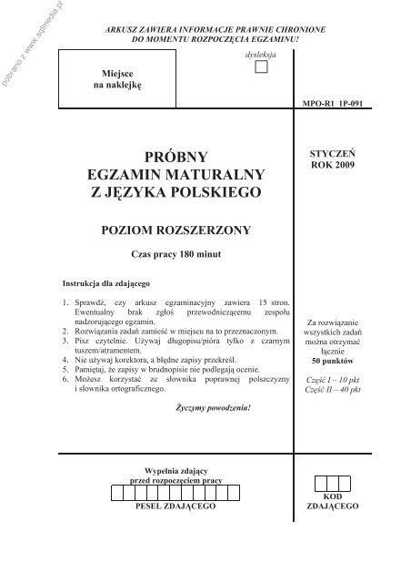 Próbny Egzamin Maturalny Z Języka Polskiego Poziom