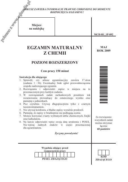 egzamin maturalny z chemii poziom rozszerzony - Sqlmedia.pl