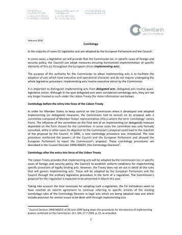 1 Comitology In the majority of cases EU legislative ... - ClientEarth