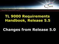 Changes from Requirements Release 5.0 to 5.5 - TL 9000