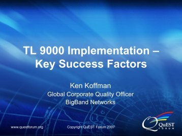 TL 9000 Implementation – Key Success Factors