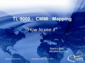 "TL 9000 - CMMI Mapping ""How to use it"""