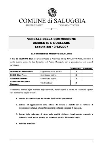 Il verbale della seduta del 19 Dicembre 2007 - Le1000gru.org