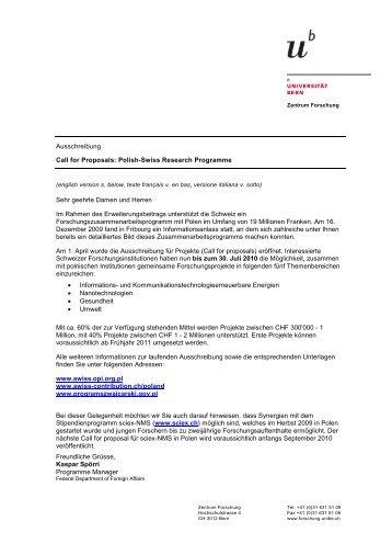 Ausschreibung Call for Proposals: Polish-Swiss Research ...