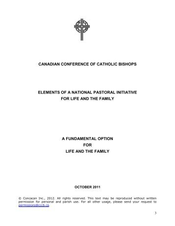 Elements of a National Pastoral Initiative for Life