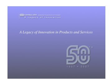 A Legacy of Innovation in Products and Services - Vicnet
