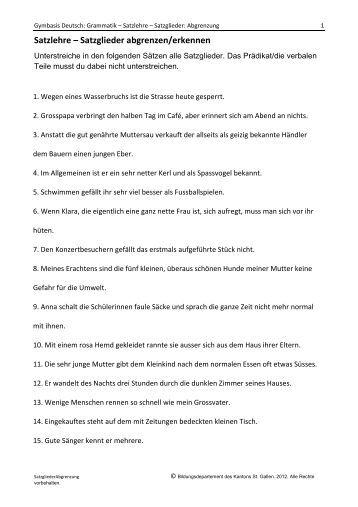 arbeitsblatt vorschule 187 deutsch 252bungen satzglieder