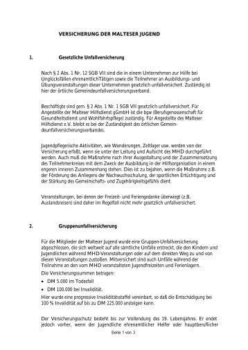 VERSICHERUNG DER MALTESER JUGEND 1. Gesetzliche ...