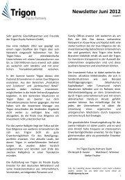 Newsletter Juni 2012 - Trigon Equity Partners GmbH